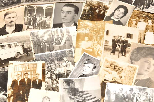Pile of antique family photos