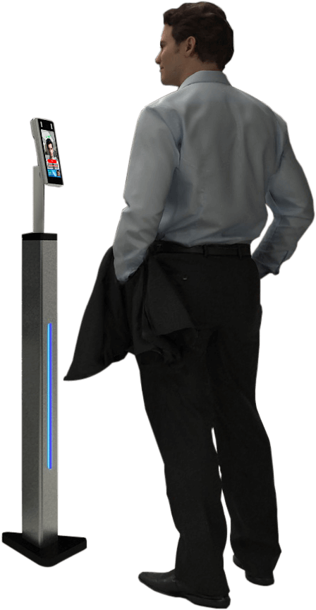 Man standing in front of the PASS free-standing device