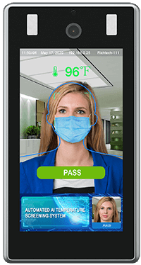 Richtech infrared scanner with woman's face wearing a mask