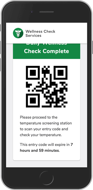 Screen shot of QR code as part of the PASS app
