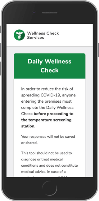 Screen shot of Daily Wellness Check as part of the PASS app